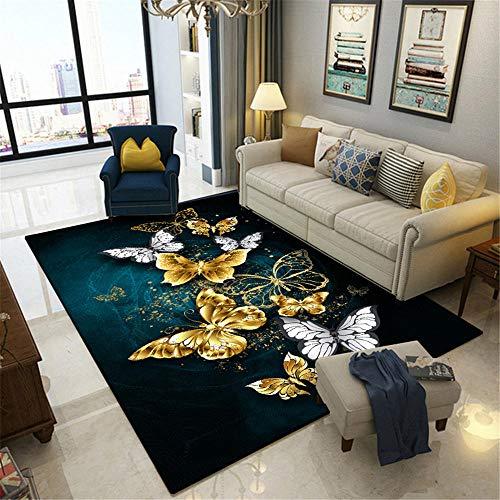 Resistente a la decoloración Resistente a la decoloración Dormitorio Alfombras Alfombra de Sala de Estar de patrón de Mariposa de fantasía de Graffiti Hermoso Amarillo Gris 300*400cm