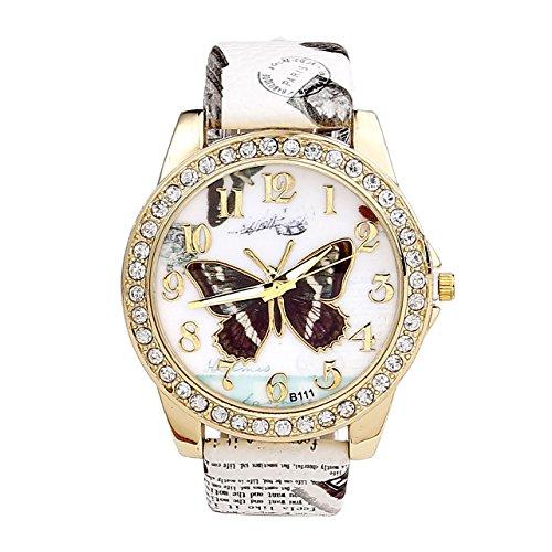 Relojes JSDDE, Reloj de pulsera retro analógico de cuarzo para mujer «Oktoberfest», con brillantes y correa con patrón de mariposa, color blanco