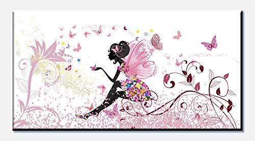 wandmotiv24 Cuadro en Lienzo Mariposa de Hadas 100x50cm (Ancho x Alto) Foto panorámica Foto Lienzo Mural Foto Regalos Flores de Mariposas de Elfo M0438