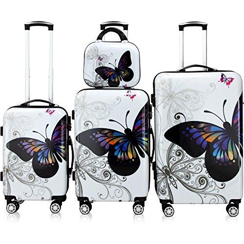Monzana Juego de 4 Maletas Butterfly Equipaje de Viaje de 42L 66L 98L Set de 3 valijas Conjunto con maletín de Aseo