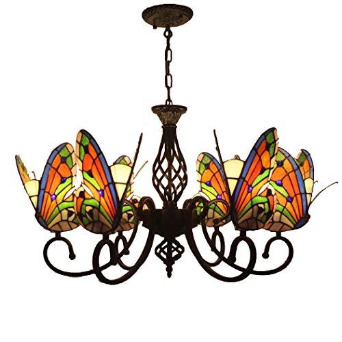Yjmgrowing Iluminación Pastoral de Estilo Tiffany Lámpara Colgante de Cristal Manchado de Mariposa para Sala de Estar Dormitorio Cocina Comedor lámpara de Techo,110-240V, E27,6 Head