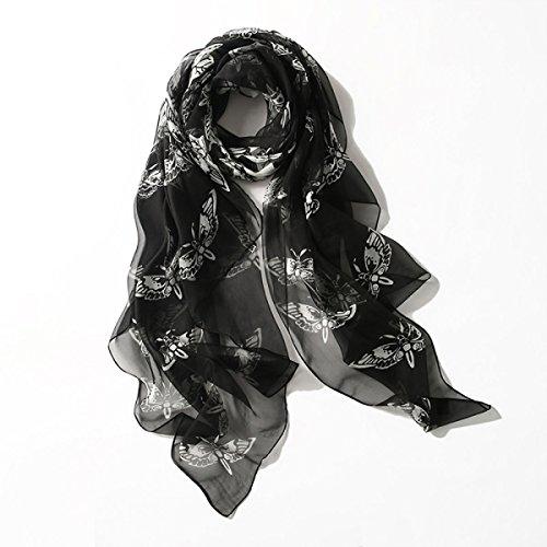 HongTeng-Bufanda Pañuelo de seda Imprimir Bordado Bordado Seda de seda de verano Sección larga Pañuelo de seda fina Pañuelo de señora de seda Toalla de protección solar playa (longitud: 180 * 110cm, E