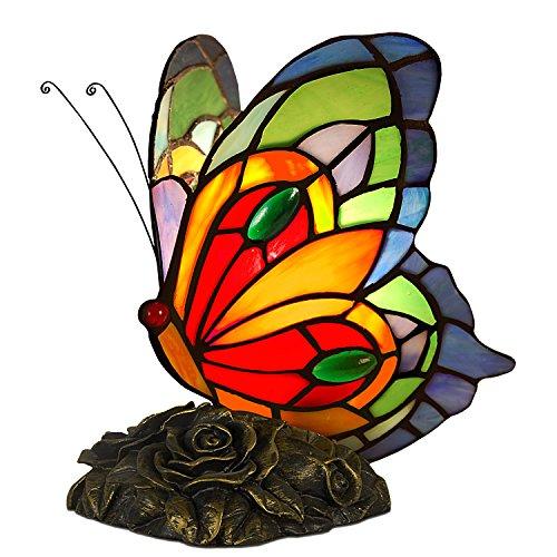 Arte dal Mondo AB08020 Mariposa Làmpara de mesa de noche con pantalla en vidrio soldado lavoraciòn Tiffany