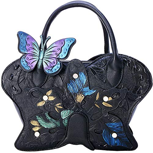QXX Bolso de Mariposa Pintado Bolso Femenino Retro Retro étnico del Viento Bolso Bandolera Coreana (Color : Black)