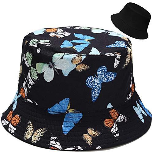 Estampado de Mariposa Colorida Mujer Hombre Gorro de Pescador Sombrero de Pescador Protección Solar Gorro de Playa Al Aire Libre Plegable Reversible