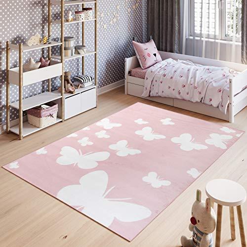 Tapiso Pinky Alfombra Cuarto de Niños Juvenil Diseño Moderno Rosa Blanco Mariposas Juego Suave Delgada 120 x 170 cm
