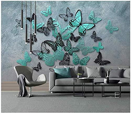 JJXBBL Fondo de pantalla 3D Mariposa Fondo nostálgico Pintura mural Adornos de decoración de paredTapiz para colgar en la pared