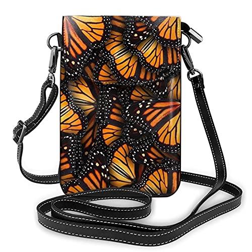 Lsjuee Montones de mariposas monarca naranjas, monedero de cuero para mujer, teléfono celular, bolso lindo, bolso de hombro, bolsos cruzados