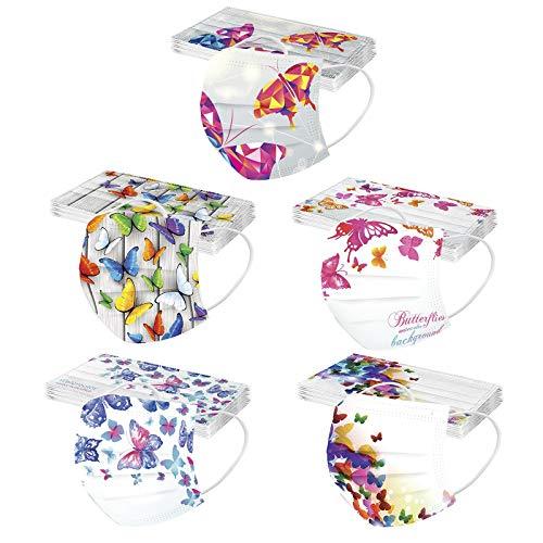 N / C 50 Unidades Adultos Moda De_Mascarilla_ Con estampado de mariposas Variedad estilos para Cenas Al Aire Libre Adecuado bodas 3 Capas 1 paquete 5 colores