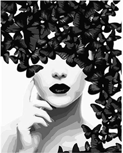 XINTONG Puzzles de 1000 Piezas para Rompecabezas de ensamblaje de Madera Ilustración de una Mariposa y una Mujer en Arte Moderno en Blanco y Negro