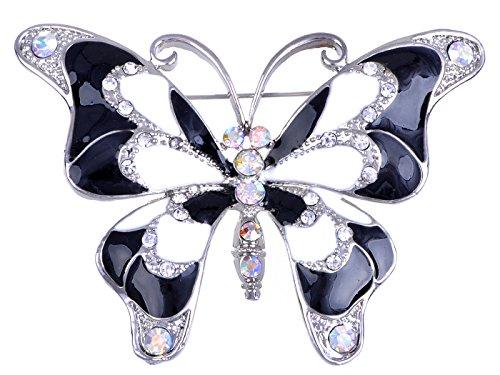 Alilang Blanco y negro pintura esmalte de mariposa de cristal moda broche