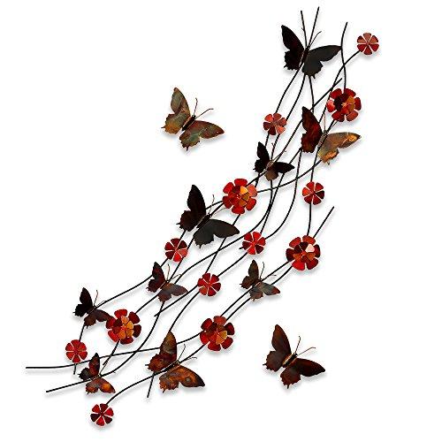 Flores y mariposas Cuadro en metal escultura para la pared realiazada con tecnicas artesanales