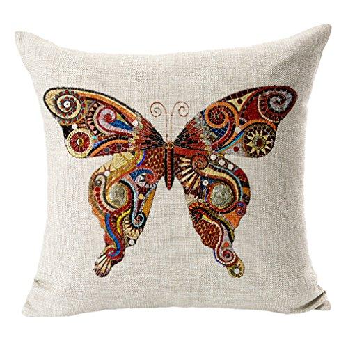 Manta de lino y algodón de mariposa Bigood almohada cojín 45 * 45 cm, algodón, rojo, suelto