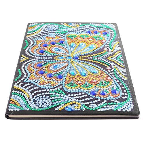 Cuadernos de la cubierta de la pintura del diamante, DIY mariposa en forma especial de la pintura del diamante 50 páginas libro de bocetos de los estudiantes