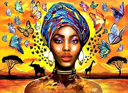 leomuzi 1000 piezas rompecabezas mujer africana mariposa puzzles para adultos equipo de construcción de juguete presente para adultos-Papel