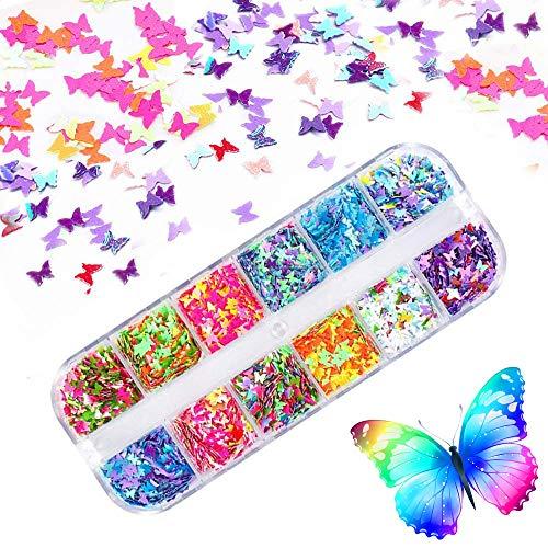 Kalolary 12 Colores Mariposa Lentejuelas Uñas Decoración Purpurinas Confeti Uñas Nail Art Glitter Brillos para Manicura y Diseños de Uñas (C)