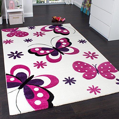 Paco Home Alfombra Infantil - Diseño De Mariposas Crema Rosa Lila, tamaño:133 cm Cuadrado