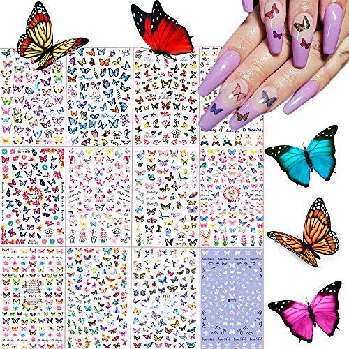 Kalolary 12Pcs 840+ Mariposa Pegatinas uñas Niñas, Arte de Uñas Pegatinas de Calcomanías Autoadhesivas Diy Etiqueta de Uñas para Mujeres Niños Niñas