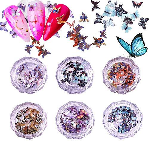 Kalolary 6 Piezas Lentejuelas de Brillo de Uñas de Mariposa 3D Lentejuelas de Uñas de Mariposa Coloridas Lentejuelas Acrílicas Brillo de Uñas Puntas de Brillo para Decoración de Arte de Uñas Estilo