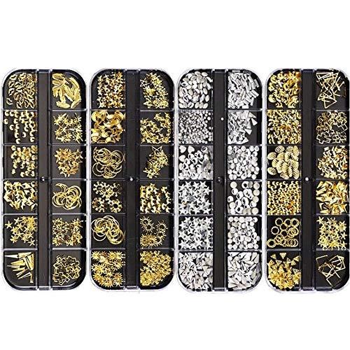 La decoración del clavo del Rhinestone - Nueva Decoración de uñas de arte 3D del clavo del Rhinestone Cristal AB Piedras encanto gemas de la perla del oro de DIY de plata del remache Nails joyería y a