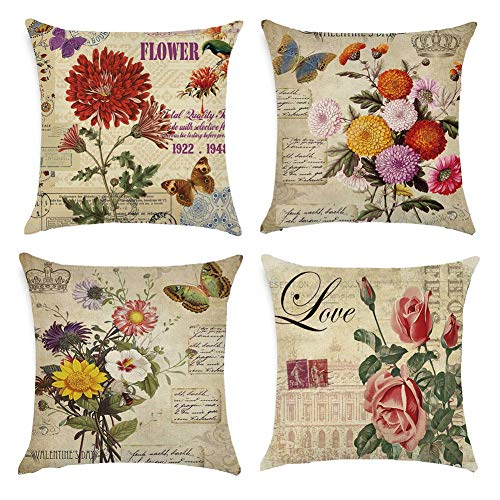 Gspirit 4 Pack clásico Las Flores Rosa Algodón Lino Throw Pillow Case Funda de Almohada para Cojín 45x45 cm