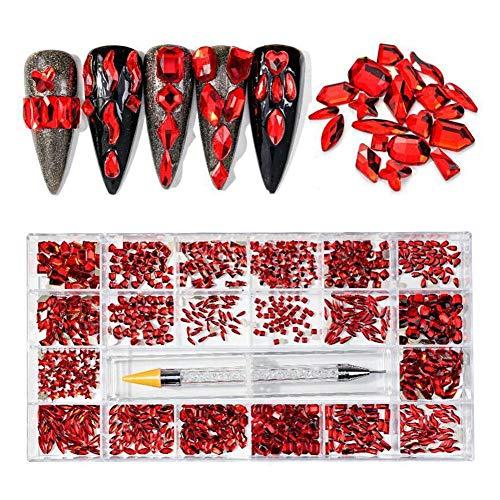 Kit de 20 diamantes de imitación de uñas de estilo mixto, multicolor Nail Art Crystal y Gems Studs Joyas Diamantes con bolígrafo punteador para suministros de arte de uñas accesorios