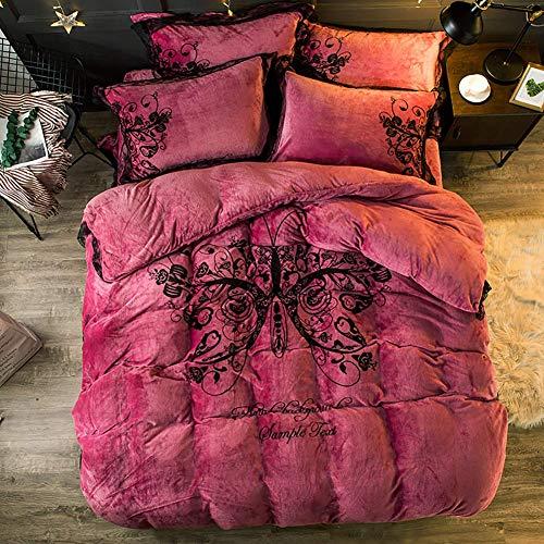 Ropa de cama Juegos de fundas de edredón Funda de almohada Juegos de edredón, Juego de sábanas de terciopelo de franela con estampado de mariposas de lujo Sábanas de edredón lindo Sábanas de fundas