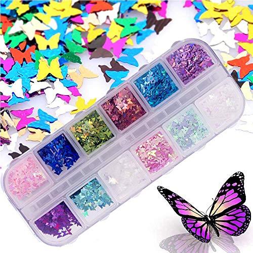 Kalolary 12 Colores Mariposa Lentejuelas Uñas Decoración Purpurinas Confeti Uñas Nail Art Glitter Brillos para Manicura y Diseños de Uñas (B)