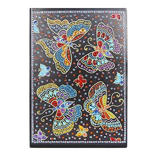DIY5D Diamante Pintura Arte Cuaderno de punto de cruz A5 Cuaderno de escritura Cuaderno de diario secreto Mariposa realista Libro para colorear Familia y amigos Regalo del día de San Valentín