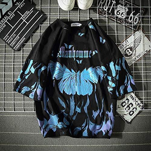 OLGN Camiseta para Hombre Camiseta De Mariposa Azul Harajuku Hip Hop Camisetas De Manga Corta Tops Casuales Streetwear Algodón De Gran Tamaño Ropa para Hombre-At203_Black_XXL