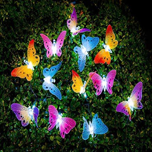 LEDMOMO Cadena de luces LED solar con forma de mariposas, para jardín, árboles, terrazas, fiestas, decoración, iluminación