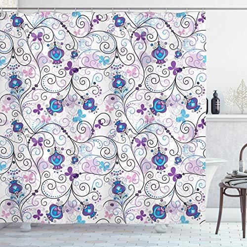 ABAKUHAUS Floral Cortina de Baño, Resumen de Las Flores de Mariposas, Material Resistente al Agua Durable Estampa Digital, 175 x 200 cm, Multicolor