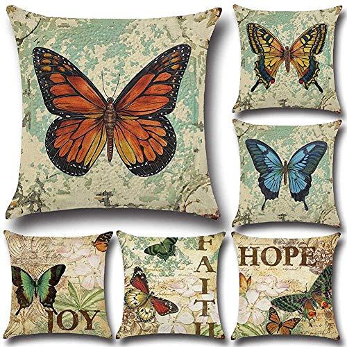PotteLove - Juego de 4 Fundas de cojín Decorativas con diseño de Mariposas, cuadradas, para decoración del hogar, Sala de Estar, sofá, Funda de Almohada, Pack de 6, 26' x 26'