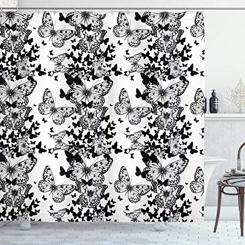 ABAKUHAUS En Blanco y Negro Cortina de Baño, Adorno de la Mariposa, Material Resistente al Agua Durable Estampa Digital, 175 x 240 cm, Blanco Negro