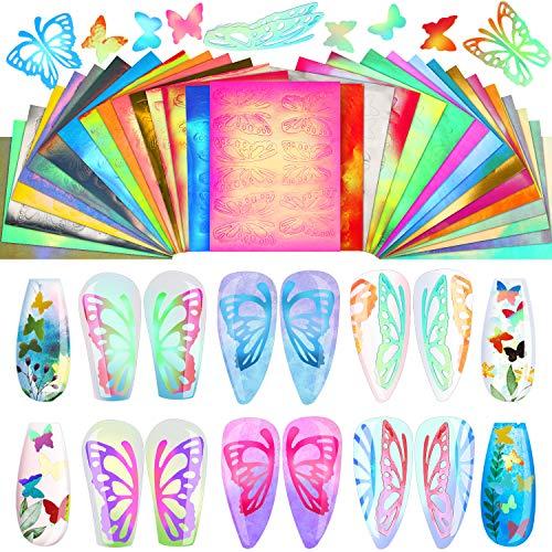 32 Hojas Pegatinas Calcomanías de Holográficas de Arte de Uñas de Mariposa Decoración de Uñas de Reflejo de Llama de Mariposa Plantilla de Uñas de Vinilo 3D para Decoración Autoadhesiva Manicura