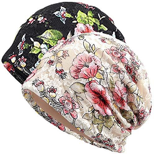 Gorro de algodón para mujer con turbante de encaje suave para dormir Chemo Sombreros Moda Slouchy Hat - - Talla única