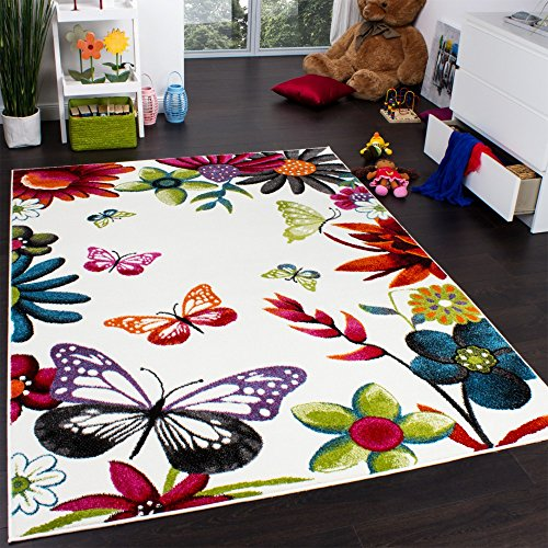 Paco Home Alfombra Infantil Butterfly - Diseño Colorido De Mariposas - Crema Multicolor, tamaño:80x150 cm