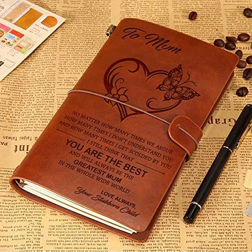 Diario de cuero para el día de la madre, regalo de cumpleaños para mamá de hija – a Dear Mum – Diario vintage de viaje de 120 páginas, libro de bocetos regalo (mariposa)