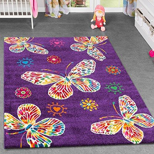Alfombra infantil - Diseño de mariposas - Para cuarto de los niños y habitación de juegos - Multicolor con fondo en lila, 80 x 150 cm