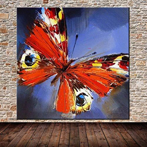 CYSHYH Arte Abstracto Moderno Cuadros Pintados A Mano Animal Mariposa Pintura Al Óleo sobre Lienzo Pared Arte Imagen para Sala Decoración De La Pared 90X90 Cm