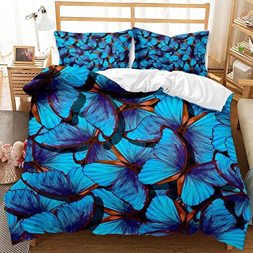 QIAOJIN Juego de ropa de cama con estampado de mariposas en 3D con flores y insectos voladores (140 x 210 cm)