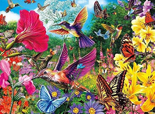 500Piezas Rompecabezas Adultos Adolescentes niño Mariposas y Aves Rompecabezas de Bricolaje Dificultad Media Juego de Rompecabezas de Piso de impresión de Alta definición 52 * 38cm