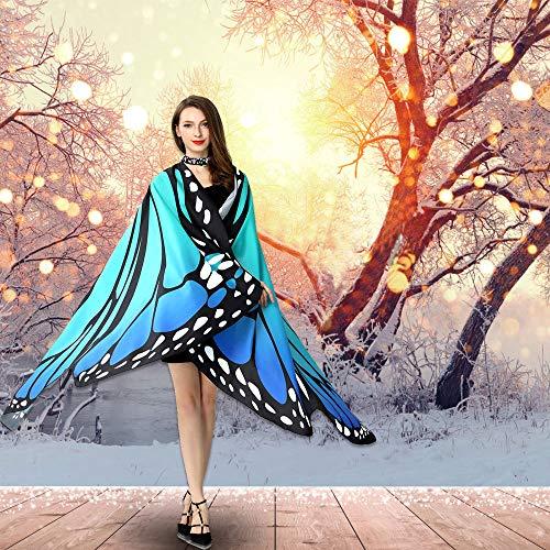 TANCUDER Chal de Mariposa para Adulto, Disfraz de Mariposa, Alas de Mariposa para Mujer, Azul, Tela Suave, Chal de Alas de Mariposa Ideal para Disfraz de Carnaval, Navidad, Fiesta de Baile