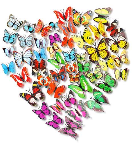 Adhesivos Mariposas 3D Decorativos 72pcs,3D Mariposa Pegatinas,3D Bricolaje Mariposa Etiquetas Engomadas,Colorido Mariposas Decoración para Mural Pared Habitacion Niña Hogar Kids Room