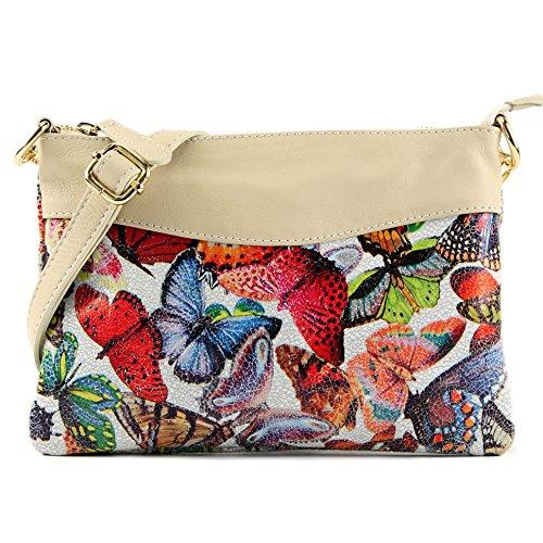 modamoda de - napa italiana pequeña bolsa de hombro T172A, Color:Mariposa/Crema Beige