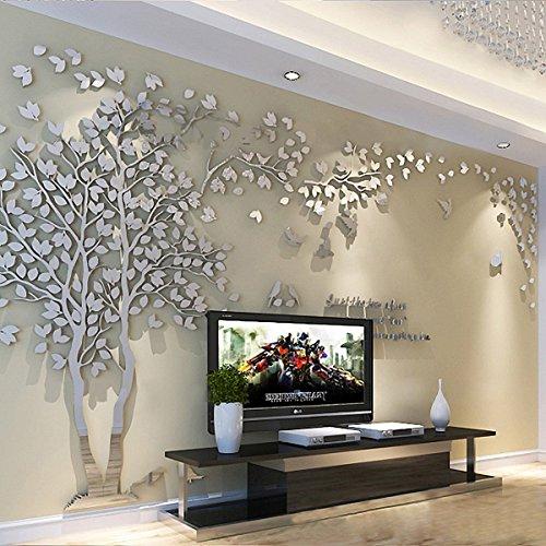 Adhesivos grandes 3D para pared con diseño de árbol de parejas. Vinilo de cristal acrílico. Para sala de estar, dormitorio, fondo de TV, decoración del hogar