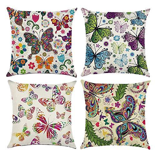 Gspirit 4 Pack Vistoso Mariposa Algodón Lino Throw Pillow Case Funda de Almohada para Cojín 45x45 cm