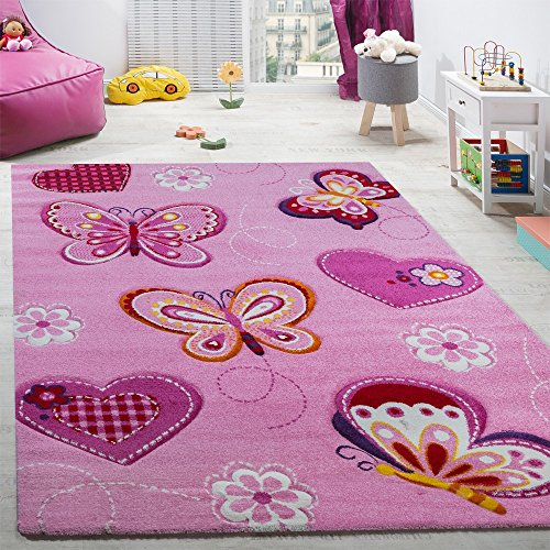 Paco Home Alfombra De Habitación Infantil Contorneada con Motivos De Mariposas Rosa, tamaño:80x150 cm